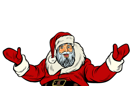 Santa Claus greeting gesture on white background. Pop art retro vector illustration