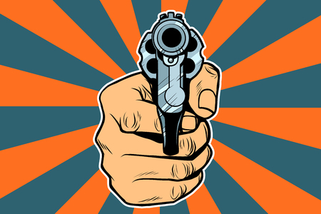 revolver in hand. Pop art retro vector illustration