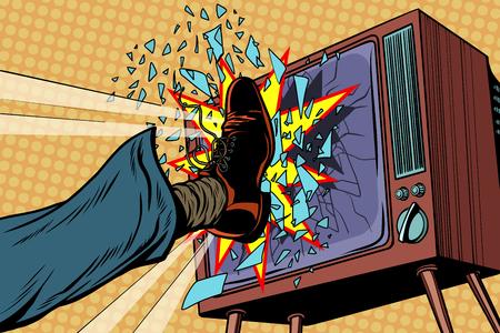 脚はテレビ、コンセプトフェイクニュースを壊します。ポップアートレトロベクターイラスト 写真素材 - 90588663