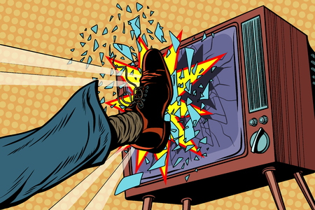 Leg breaks TV, concept fake news. Pop art retro vector illustration
