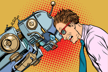 Many robots vs human, humanity and technology. Pop art retro vector vintage illustrations Vettoriali