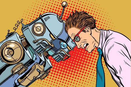 Veel robots versus mens, menselijkheid en technologie. Pop-art retro vector vintage illustraties