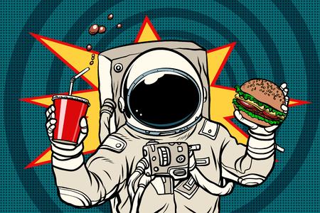 Astronaut met een hamburger en drankje. Popart retro vectorillustratie Stockfoto - 90588665