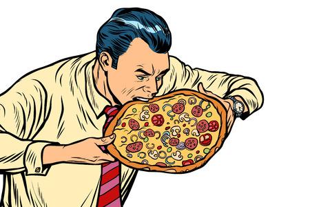 man eating pizza, isolated on white background. Pop art retro vector illustration