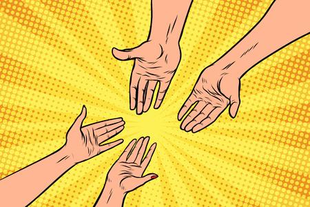 couple man and woman, hands, a gesture of love. Pop art retro vector illustration Çizim