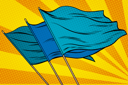 blue flag pop art background. retro vector illustration. rally demonstration Stock Photo