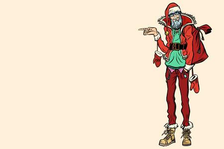 Hipster Santa Claus die zijdelings richt