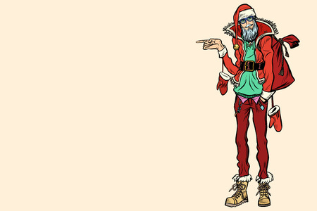 Hipster Santa Claus pointing sideways Ilustrace