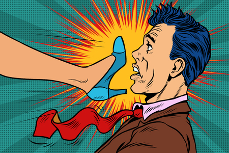girl power, woman fights with a man. Gender conflicts and inequa Illustration
