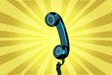 retro handset pop art background. Pop art retro vector illustration Vettoriali