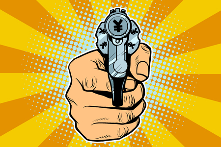 yen currency money Finance revolver in hand. Pop art retro vector illustration