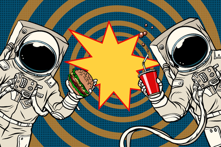 Two astronauts are eating lunch fast food. Pop art retro vector illustration