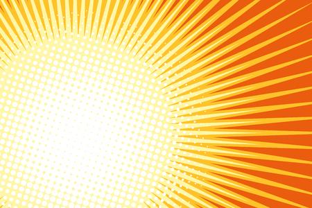 Orange yellow pop art sun background. retro vector illustration Illustration