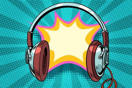 ヘッドフォンコミックバブルオーディオ。ポップアートレトロベクトルイラスト  イラスト・ベクター素材