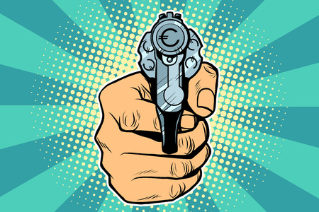 銃ポップアートのレトロなイラスト。