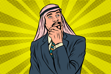 Elderly Arab businessman, thinker pose. Pop art retro vector illustration Illustration