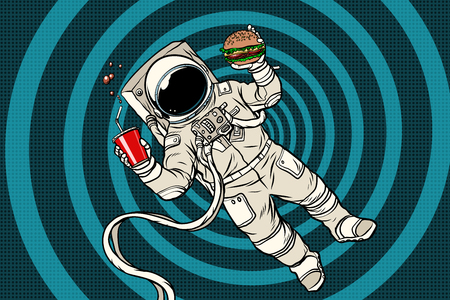 Astronaut in gewichtloosheid met fast food Stock Illustratie