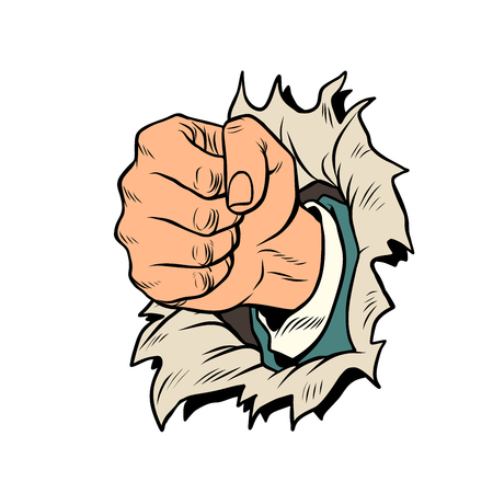 a fist punches the paper Illustration