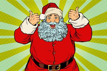 Thumb up happy Santa Claus Vettoriali