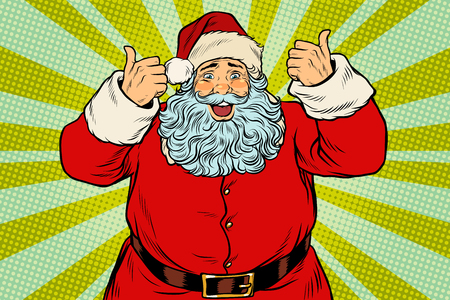 Thumb up happy Santa Claus Vectores