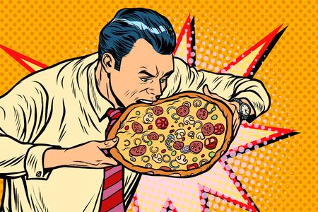 man bites pizza