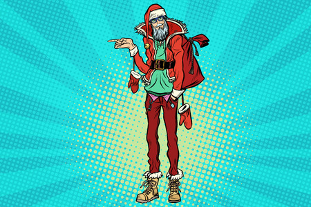 Hipster Santa Claus pointing sideways Illustration