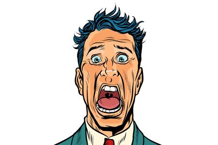 男は白い背景に隔離された恐怖で叫ぶ  イラスト・ベクター素材