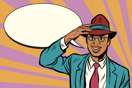 Retro African businessman takes off his hat Illustration