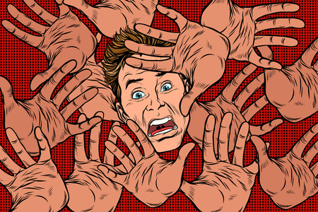 Horror fear background, hands and frightened face Illustration