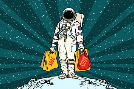 판매 쇼핑 가방과 고독한 복고풍 우주 비행사