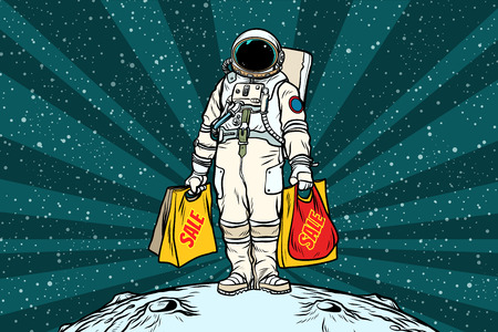 Lone retro astronaut with a sale shopping bags