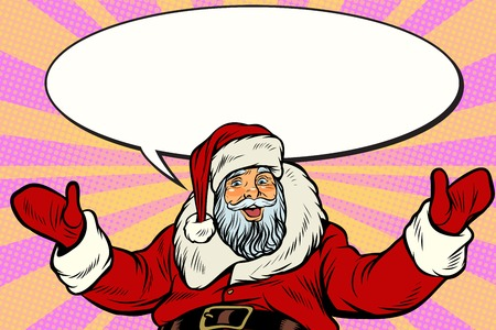 Promoter Santa Claus with comic bubble Illustration