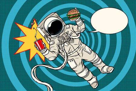 Pop art astronaut street food