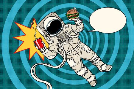Popart astronaut straatvoedsel Stock Illustratie