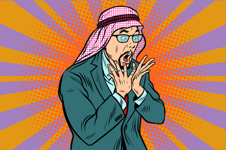 Arab businessman surprised, emotional reaction. Pop art retro vector illustration