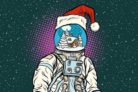 Christmas astronaut with dreams of gingerbread house. Pop art retro vector illustration. Ilustração