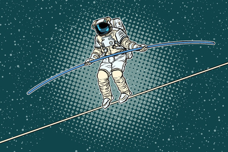 Astronaut tightrope Walker, the risks of a researcher of science. Pop art retro vector illustration.