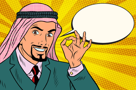 Arab businessman OK gesture, comic book bubble. Pop art retro vector illustration