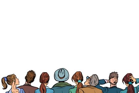 Leutepublikum-Hintergrundvortrag zurück lokalisiert auf weißem Hintergrund. Pop-Art Retro-Vektor-Illustration.