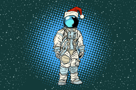Christmas lone astronaut in the Santa hat. Pop art retro vector illustration.