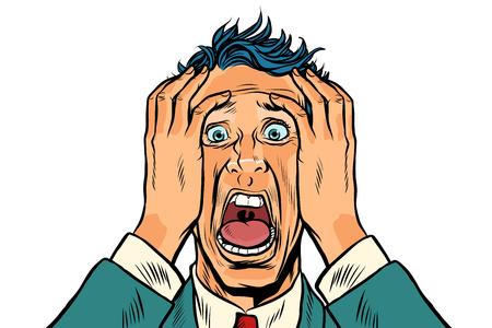 Przestraszony mężczyzna dwie ręce na głowie, twarz paniki. Ilustracja wektorowa retro pop-artu