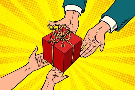 クリスマスやバレンタインの贈り物、男と女。ポップアートレトロベクトルイラスト