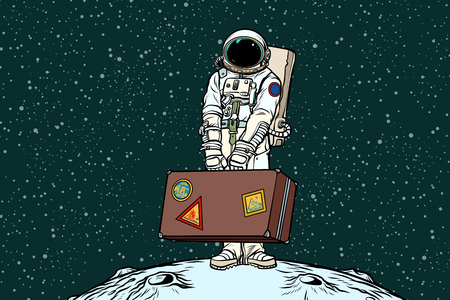 Astronaut traveler with travel suitcase. Refugees and migration. Ecology and problems of the Earth. Pop art retro vector illustration