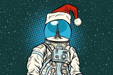 Astronauta di Natale con i sogni di Parigi. Illustrazione vettoriale retrò pop art.
