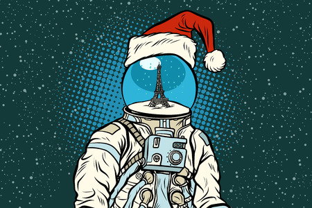 Christmas astronaut with dreams of Paris. Pop art retro vector illustration.