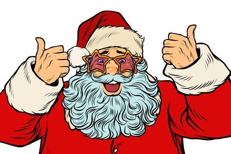 De geïsoleerde Kerstman in de sterglazen. Popart retro vectorillustratie