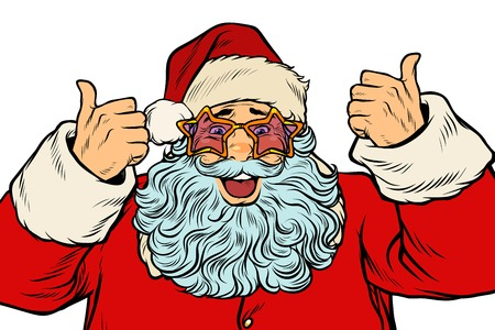 Isolated Santa Claus in the star glasses. Pop art retro vector illustration