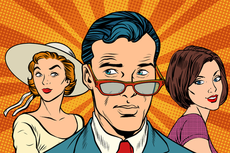 Handsome man choosing between two women. Love and romance. Pop art retro vector illustration