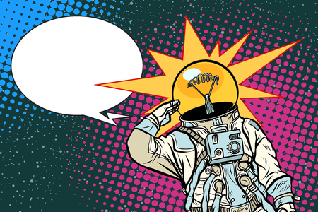 Executive astronaut head light bulb idea. Pop art retro vector illustration.