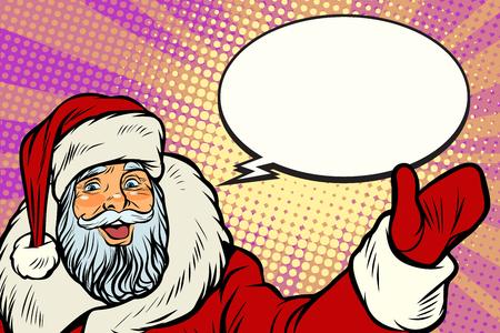 Promoter Santa Claus with comic bubble. Pop art retro vector illustration
